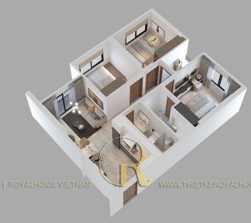 Căn hộ 3 phòng ngủ + 2Wc, diện tích 75.1m2